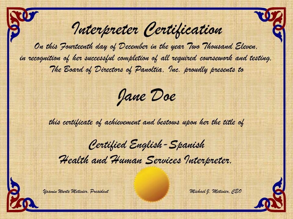 Interpreter Certification